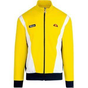 NEW SZ Small S Mens Ellesse Vilas Retro 80's Yellow Zip-Up Track Jacket SHA01550